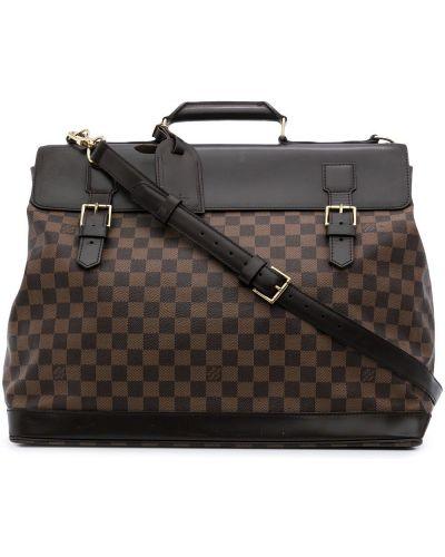 Коричневый кожаный портфель с карманами Louis Vuitton