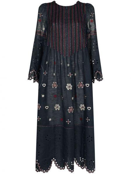 Льняное синее платье с вышивкой Vita Kin