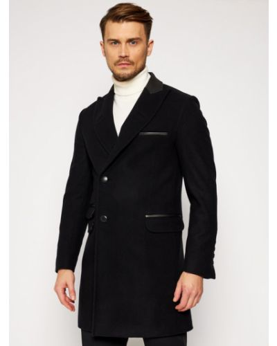 Czarny płaszcz wełniany Rage Age