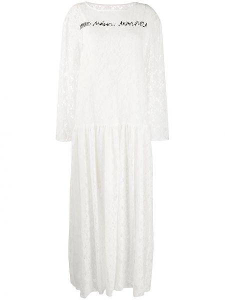 Белое плиссированное платье прозрачное с вырезом Mm6 Maison Margiela
