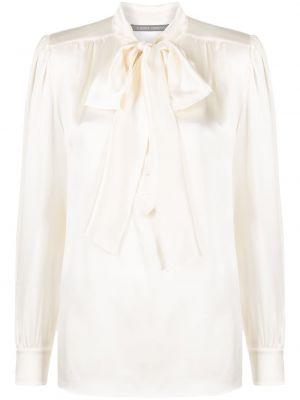С рукавами шелковая блузка с бантом Alberta Ferretti