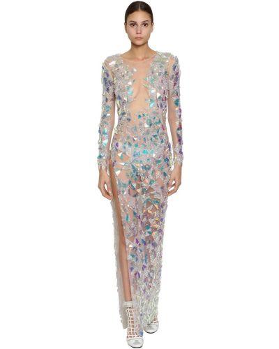 Платье макси с длинными рукавами с вышивкой из фатина Byblos