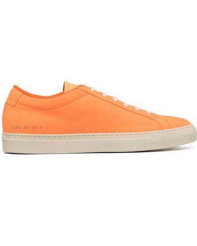 Оранжевые кожаные кеды на шнуровке Common Projects