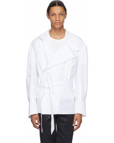 Biała koszula bawełniana z długimi rękawami Mugler
