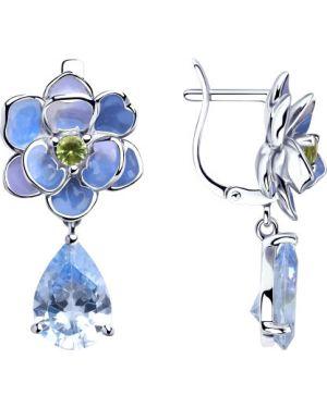 Серьги в цветочный принт - синие Sokolov