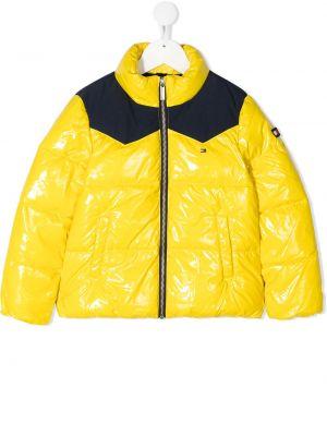 Желтое стеганое пальто с воротником Tommy Hilfiger Junior