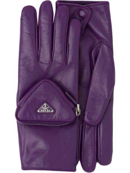 Fioletowe z kaszmiru rękawiczki Prada