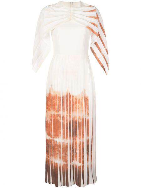 Драповое прямое приталенное платье с драпировкой Christian Siriano