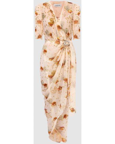 Светло-розовое платье макси с запахом Lanvin