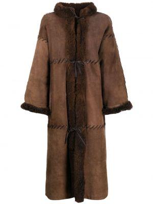 Brązowy długi płaszcz z długimi rękawami Christian Dior