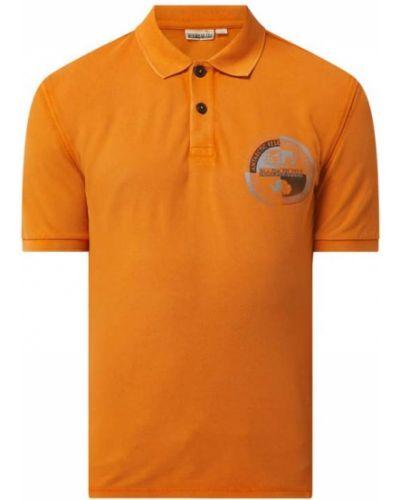 Pomarańczowy t-shirt bawełniany z printem Napapijri