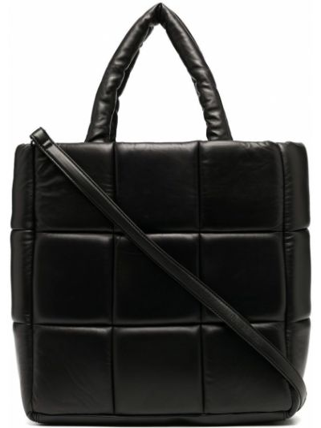 Кожаная черная стеганая сумка-тоут на молнии Stand