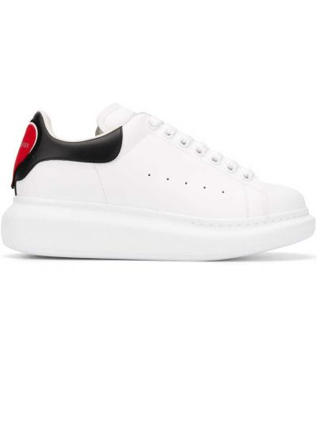 Skórzany czarny skórzane sneakersy zasznurować okrągły Alexander Mcqueen