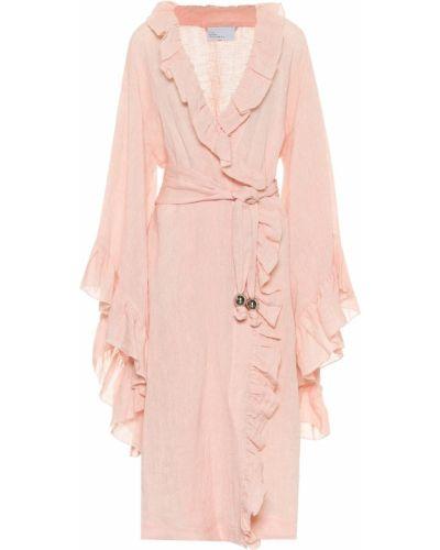 Вечернее пляжное льняное розовое вечернее платье Lisa Marie Fernandez