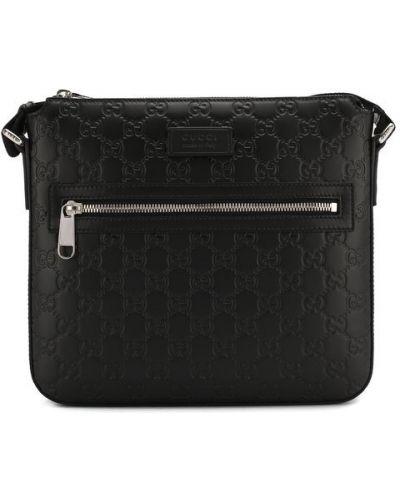 Кожаная сумка с отделениями на молнии Gucci