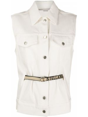Белая классическая джинсовая куртка с воротником на пуговицах Stella Mccartney