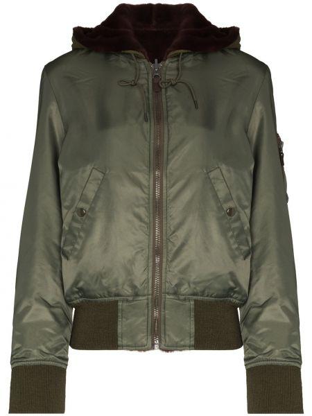 Нейлоновая зеленая куртка двусторонняя R13
