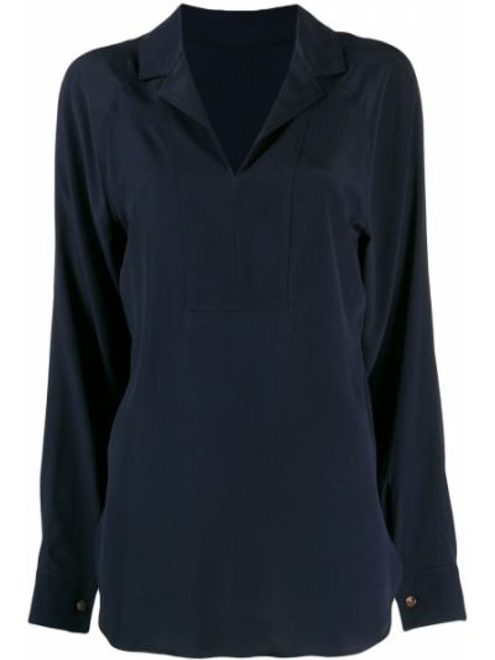 Блузка с длинным рукавом с V-образным вырезом синяя Cedric Charlier