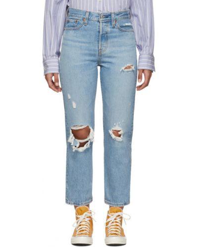 Niebieski jeansy do kostek z kieszeniami z łatami z prawdziwej skóry Levi's