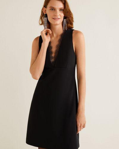 Платье мини с V-образным вырезом с поясом Mango