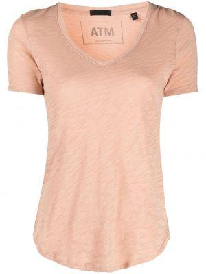 T-shirt bawełniany z dekoltem w serek krótki rękaw Atm Anthony Thomas Melillo