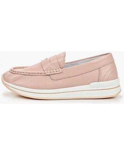 Мокасины кожаные розовый Shoiberg