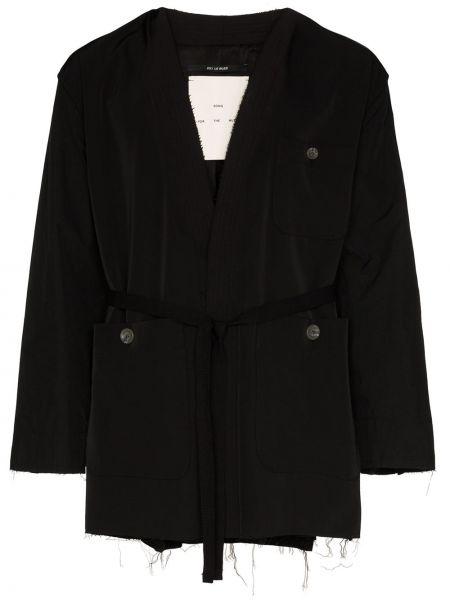 Czarna długa kurtka z nylonu z długimi rękawami Song For The Mute