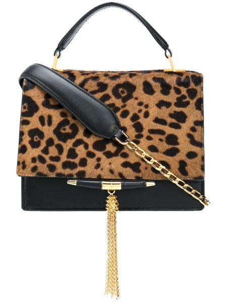 Золотистая шерстяная коричневая сумка на цепочке Tyler Ellis