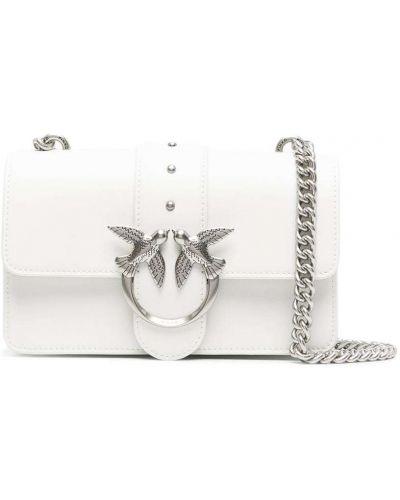 Кожаная белая сумка через плечо с заклепками Pinko