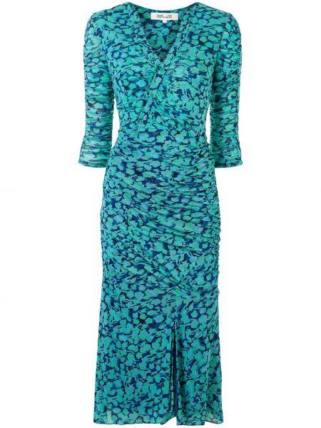 Хлопковое зеленое платье миди на пуговицах с V-образным вырезом Dvf Diane Von Furstenberg