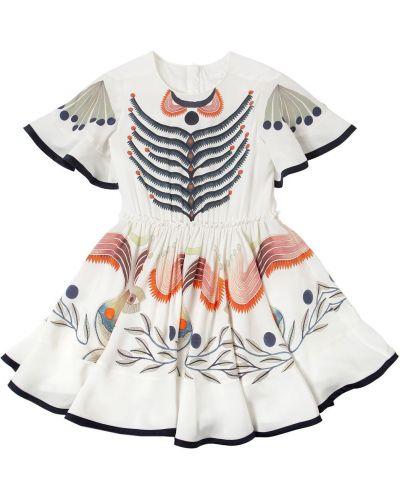 Расклешенное шелковое платье с декольте Chloé
