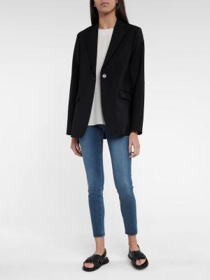 Хлопковые синие зауженные укороченные джинсы Frame
