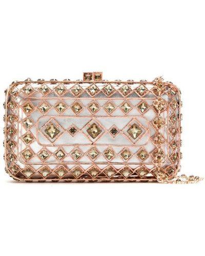 С ремешком розовая сумка на цепочке металлическая Isla