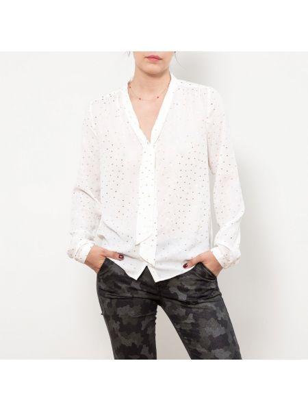 Блузка с длинным рукавом с бантом с V-образным вырезом прозрачная золотая Le Temps Des Cerises