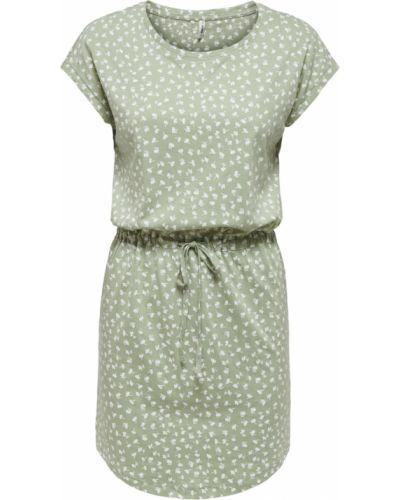 Zielona sukienka midi boho krótki rękaw Only