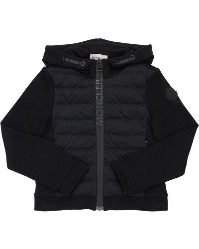Nylon bawełna czarny kurtka z kapturem Moncler