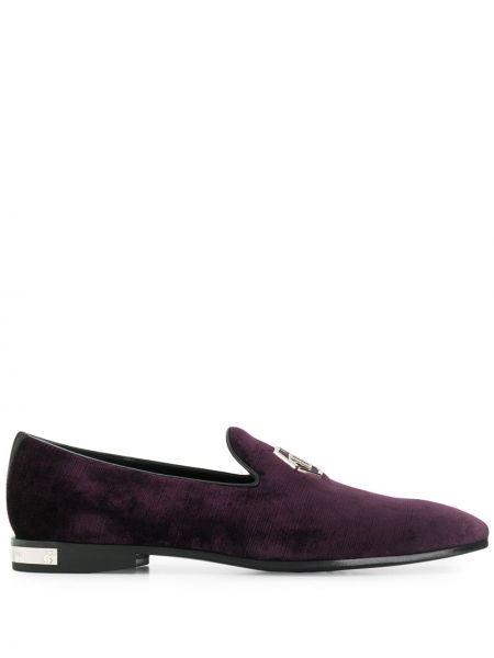 Fioletowe loafers skorzane Philipp Plein