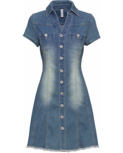 Синее джинсовое платье на пуговицах с карманами Bonprix