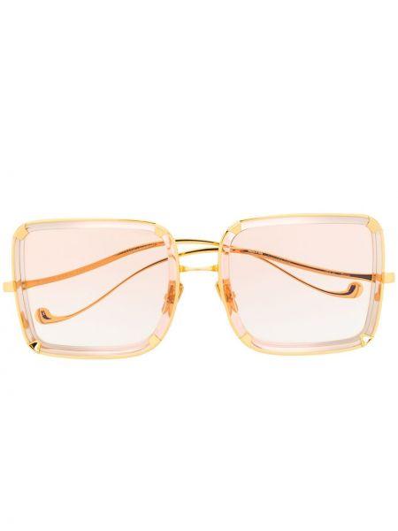 Złote okulary oversize khaki Anna Karin Karlsson