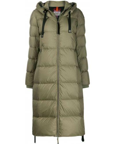 Коралловое пуховое длинное пальто с капюшоном Parajumpers