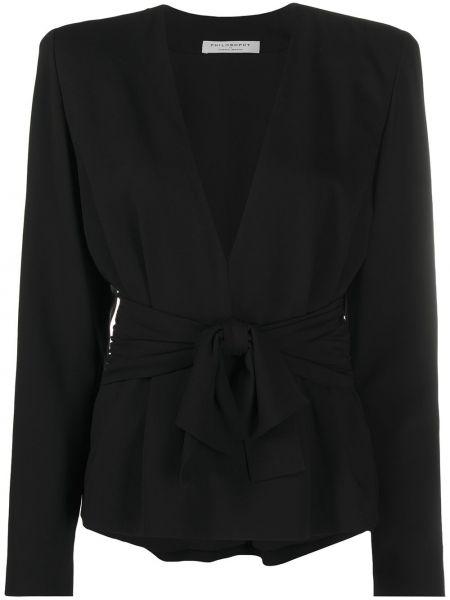 Черная блузка с V-образным вырезом из вискозы Philosophy Di Lorenzo Serafini