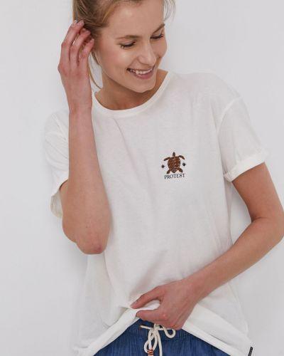 T-shirt z printem - biała Protest