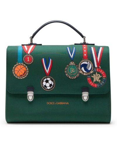 Зеленый кожаный рюкзак с карманами Dolce & Gabbana Kids