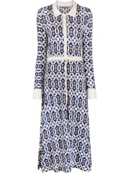 Шелковое синее платье миди с воротником N.peal