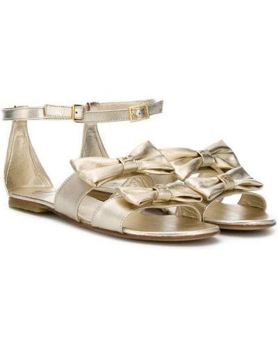 Кожаные сандалии золотые с пряжкой Elisabetta Franchi La Mia Bambina