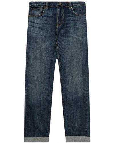 Прямые джинсы с эффектом потертости синие Burberry