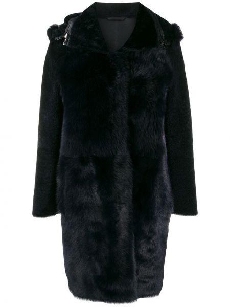 Синее кожаное длинное пальто с капюшоном S.w.o.r.d 6.6.44