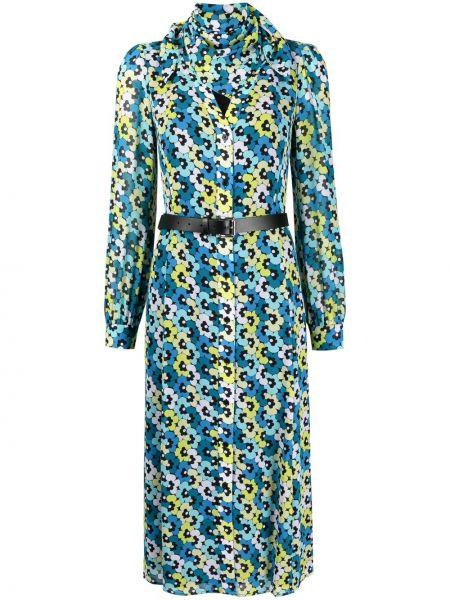 Синее платье миди с длинными рукавами в цветочный принт Michael Michael Kors