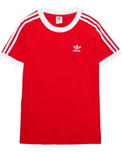 Хлопковая футболка с вышивкой в полоску Adidas Originals