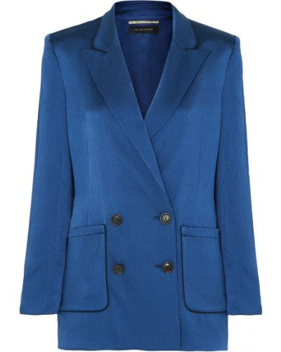 Синий пиджак двубортный с карманами Roland Mouret